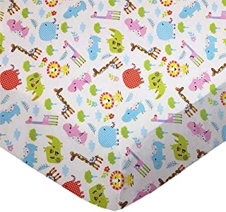 product image for SheetWorld Fitted 100% Cotton Percale Portable Mini Crib Sheet 24 x 38, Safari Animals Cream, Made in USA