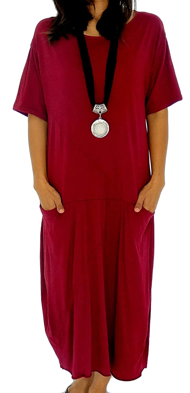 Mein Design Lagenlook de Mallorca Damen Kleid HE100 Tunika one size Jersey Ballonkleid Taschen Kurzarm Gr. 38, 40, 42,