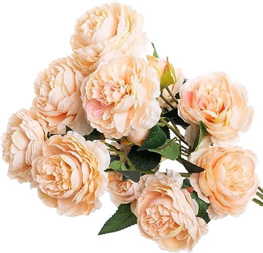 5 Dusky Lilac Artificial Peonies 5 Stems,5 Quality Faux Silk Peony Flower Heads