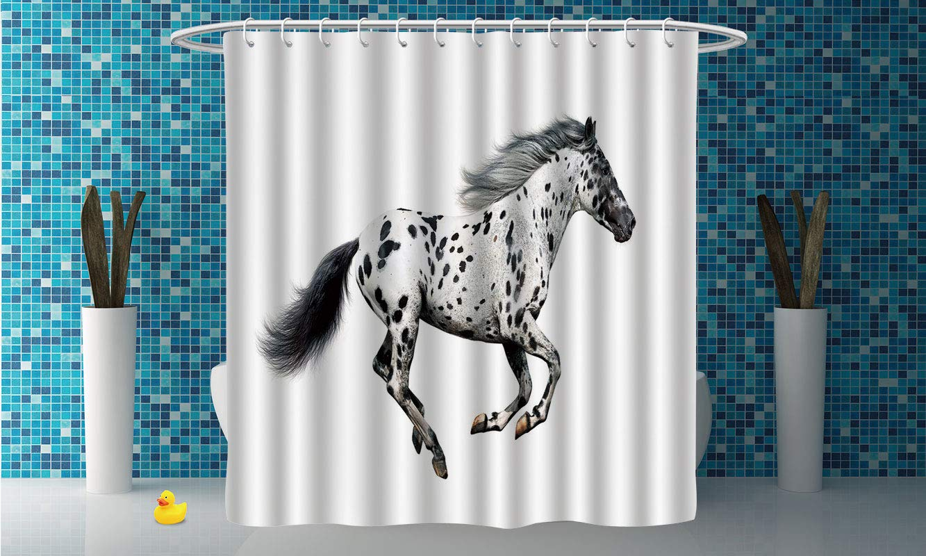 Decorative Shower Curtain Horse DecorPowerful Appaloosa Stallion Graceful Royal Pure Blood Champion Equine Print DecorativeBlack White Polyester