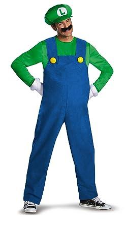 Amazon.com: Disguise Super Mario Luigi Deluxe Mens Adult Costume ...