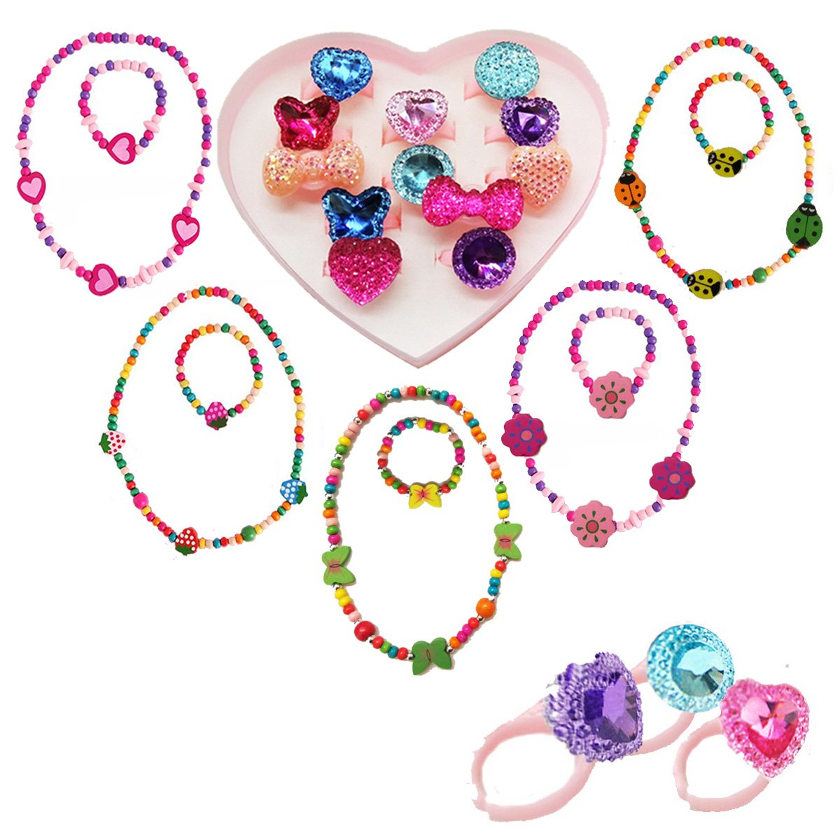 IDOXE 17pcs Value Set Little Girl Jewelry Set, Wood Stretch Necklace Bracelet with Crystal Rings Heart Box