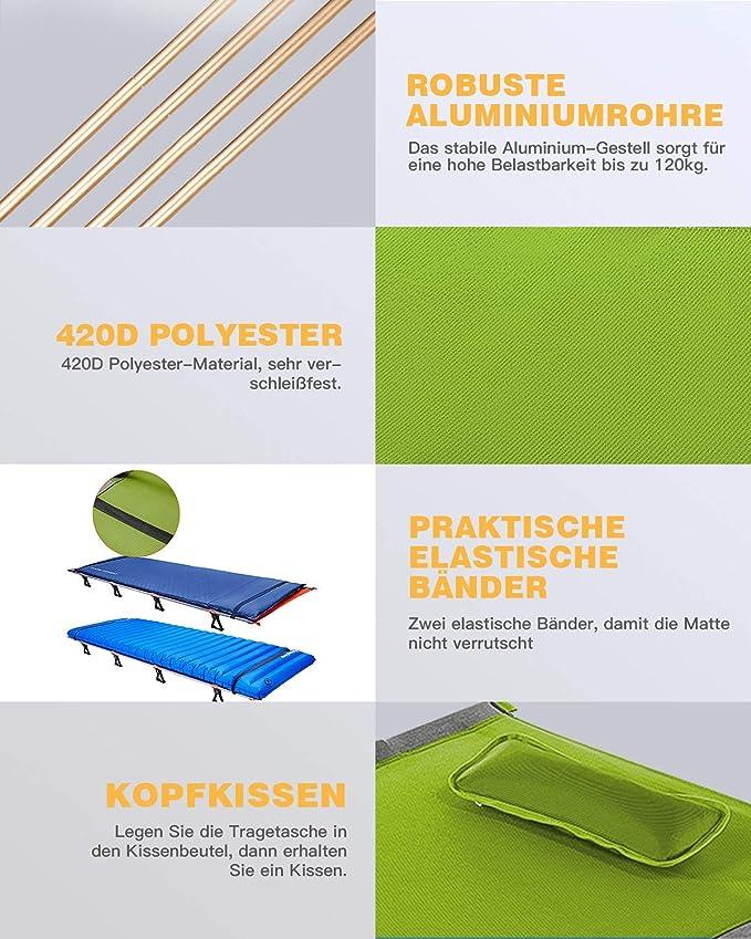 KingCamp Lit de Camp Pliable avec Sac de Transport Lit Pliant de Voyage L/éger Solide et Durable Charge 120 kg Tube /Épaissi 205 /× 75 /× 46 cm Noir Beige Vert