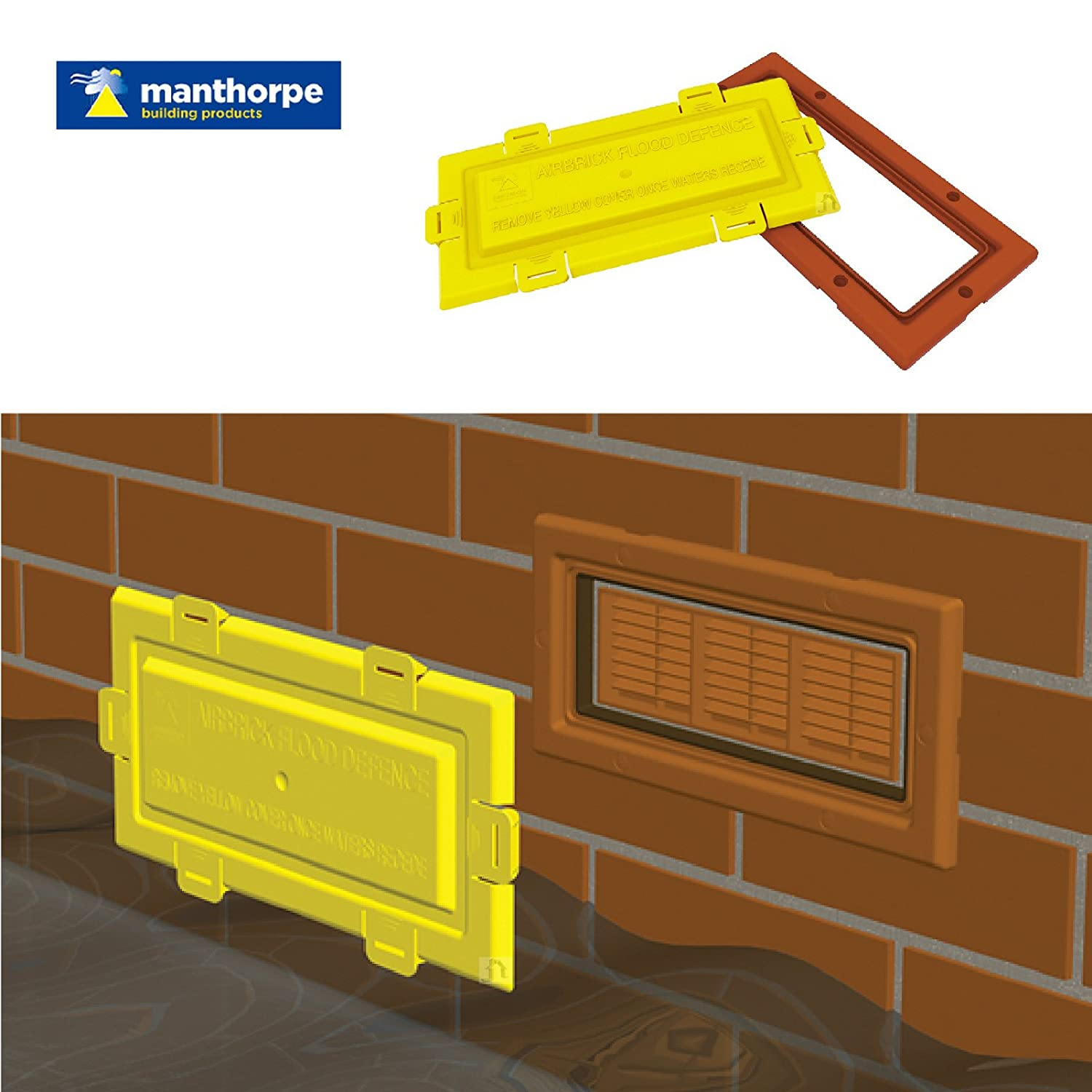 Airbrick flood water defence Protection cover and Terracotta frame / Air Brick Manthorpe RL-B5U1-0FPQ