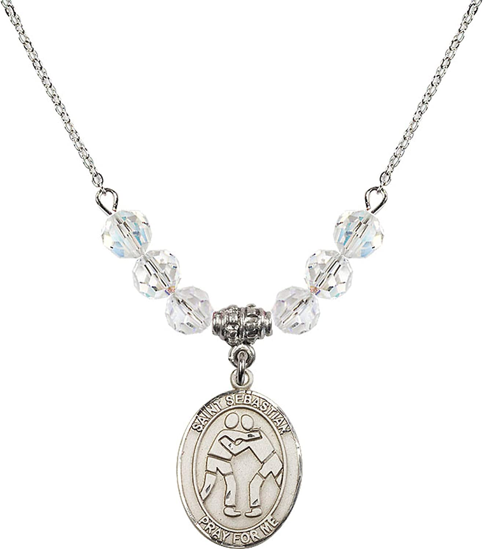 Bonyak Jewelry 18 Inch Rhodium Plated Necklace w// 6mm White April Birth Month Stone Beads and Saint Sebastian//Wrestling Charm