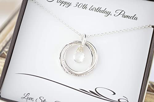 Gifts for Womans Birthday three sister birthstone gift Sterling SIlver Circle Necklaces for Women .three best friends Birthstone necklace