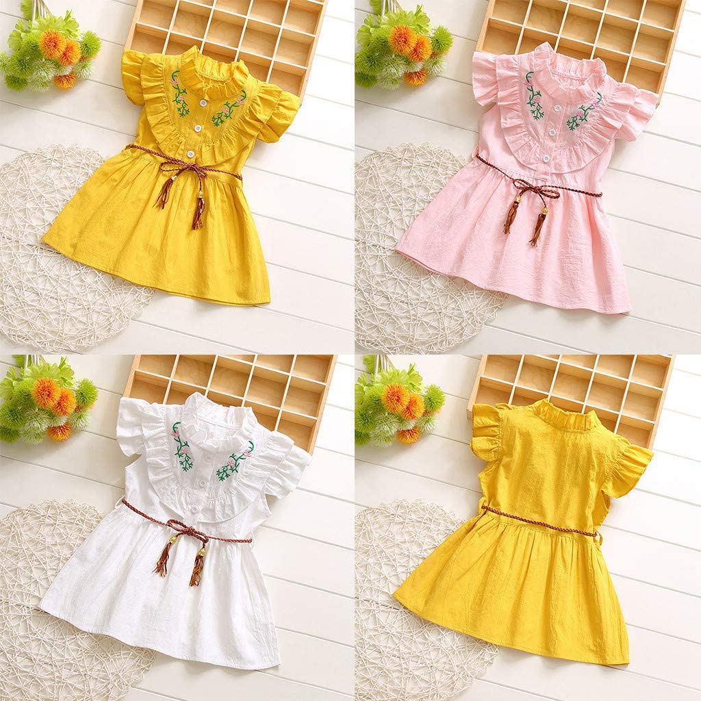 Wanshop  Floral Dress Baby Girls Clothes Cute Sleeveless Bow Print Princess Party Dress Mini Dress Outfits