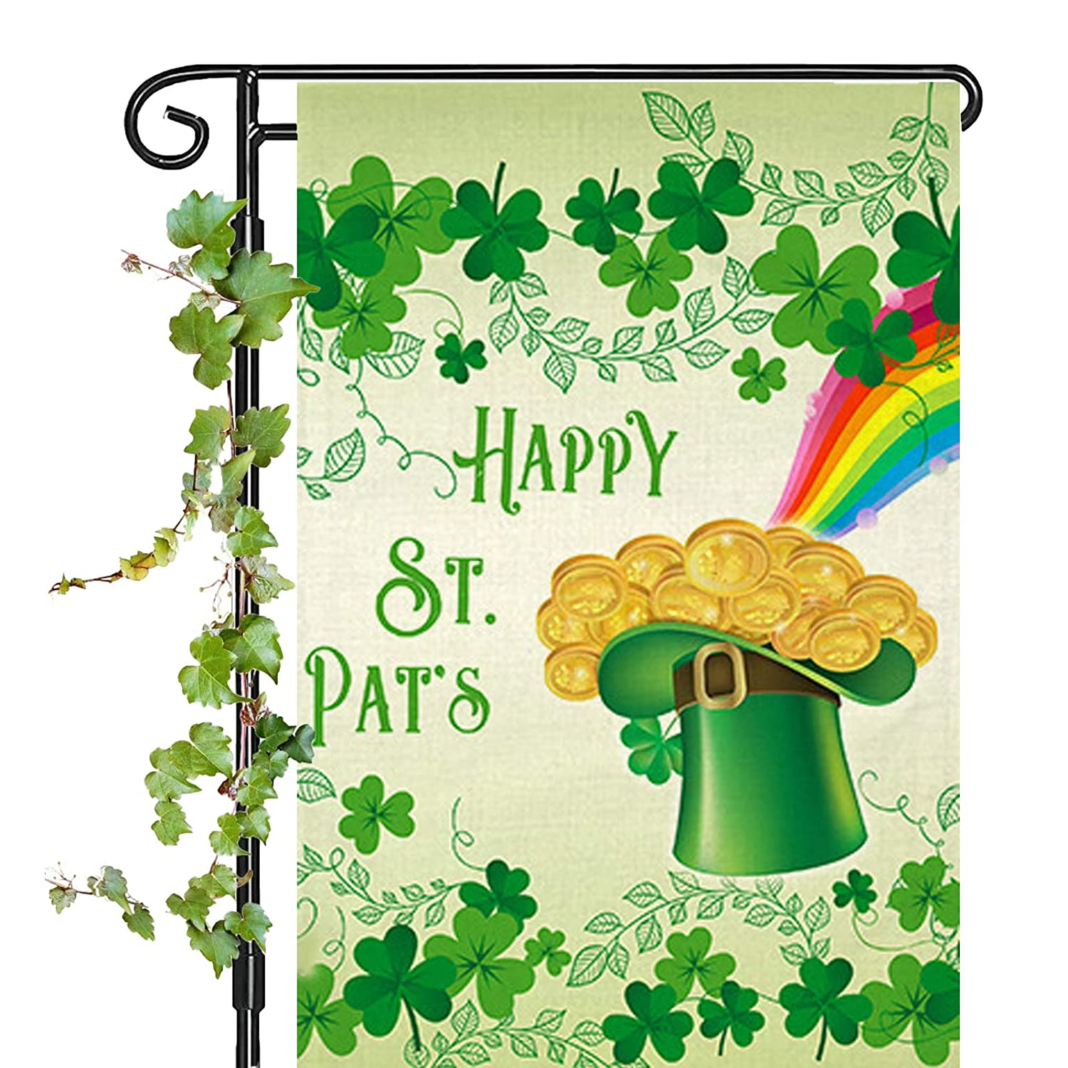 Happy St. Patrick's Day Garden Flag, Lucky Shamrocks St. Patrick's Day Garden Flag 12x18 Inch Double Sided Clover Decorative Flag for Outdoor Party