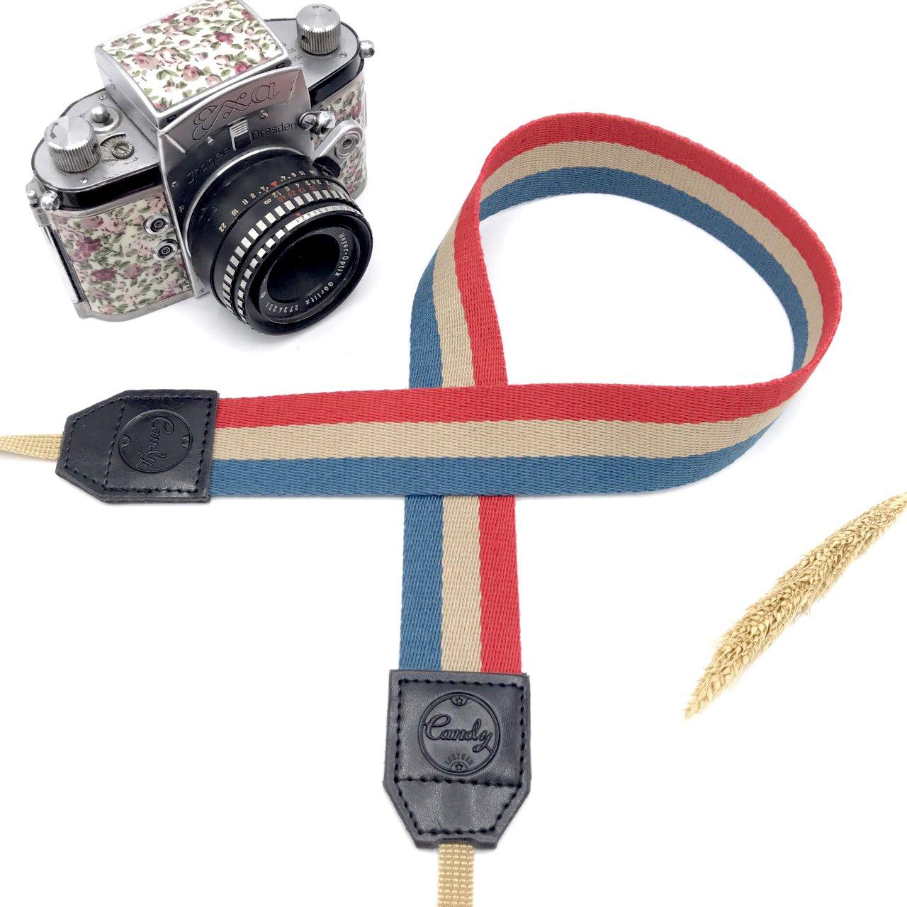 Presonalizedネイビーベージュレッドカメラストラップ、キャンディレザーDSLRカメラストラップ、本革カメラストラップ、ギフトfor Her B07DKG73DX