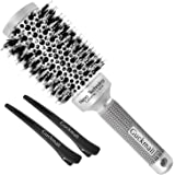Round Hair Brush Blow Dry Drying Boar Bristle, Guckmall Round Barrel Nano Technology Ceramic Ionic Hairbrush for Hair Drying, Styling, Curling(45 mm)