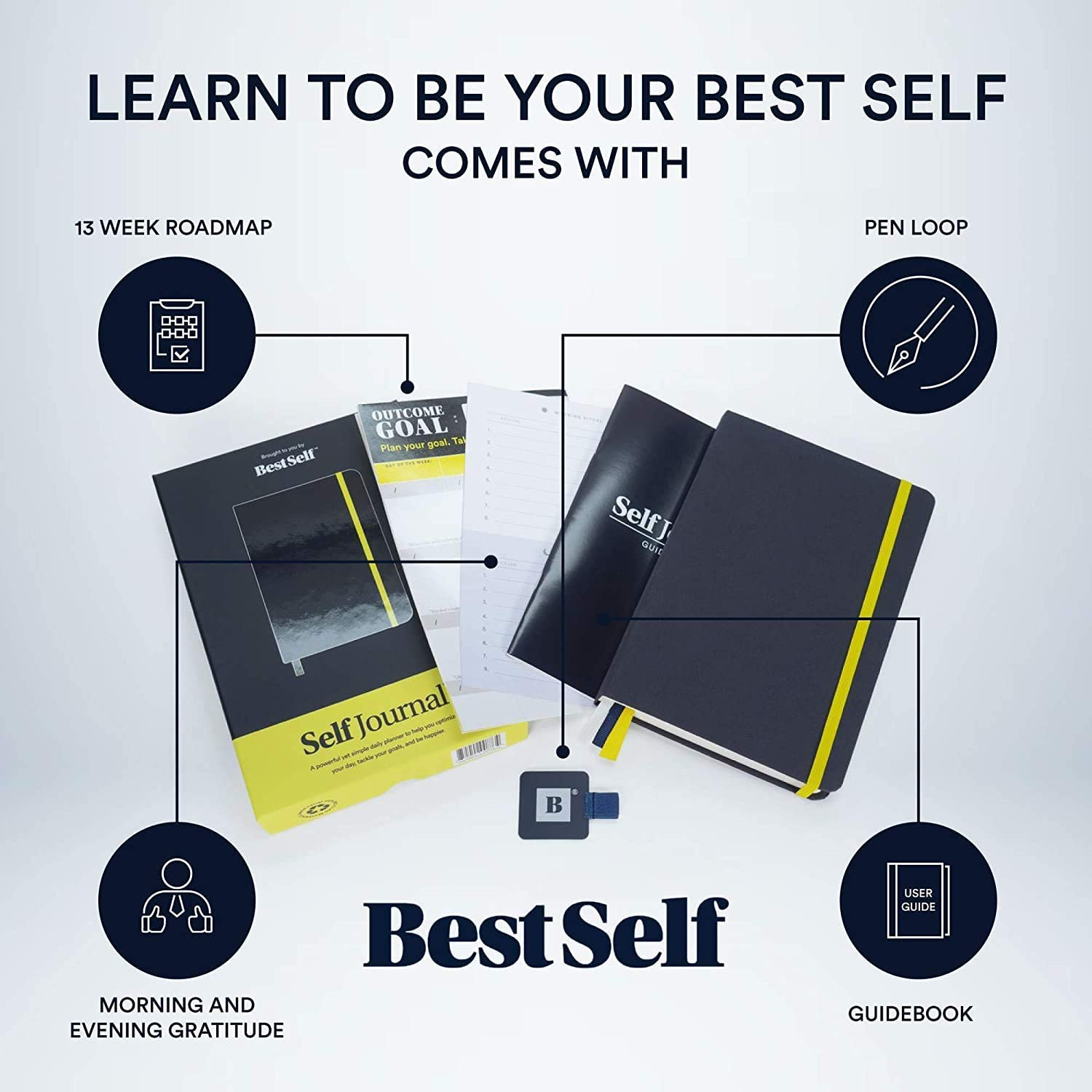 BestSelf Co Increase Productivity and Happiness Undated Hardcover Coral Weekly The SELF Journal Daily Planner Monthly