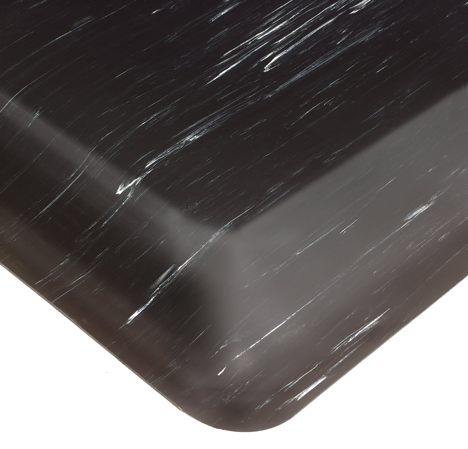 Wearwell PVC 420 SpongeCote Tile-Top Anti-Microbial Mat, Safety Beveled Edges, for Dry Areas, 2' Width x 3' Length x 1/2'' Thickness, Black