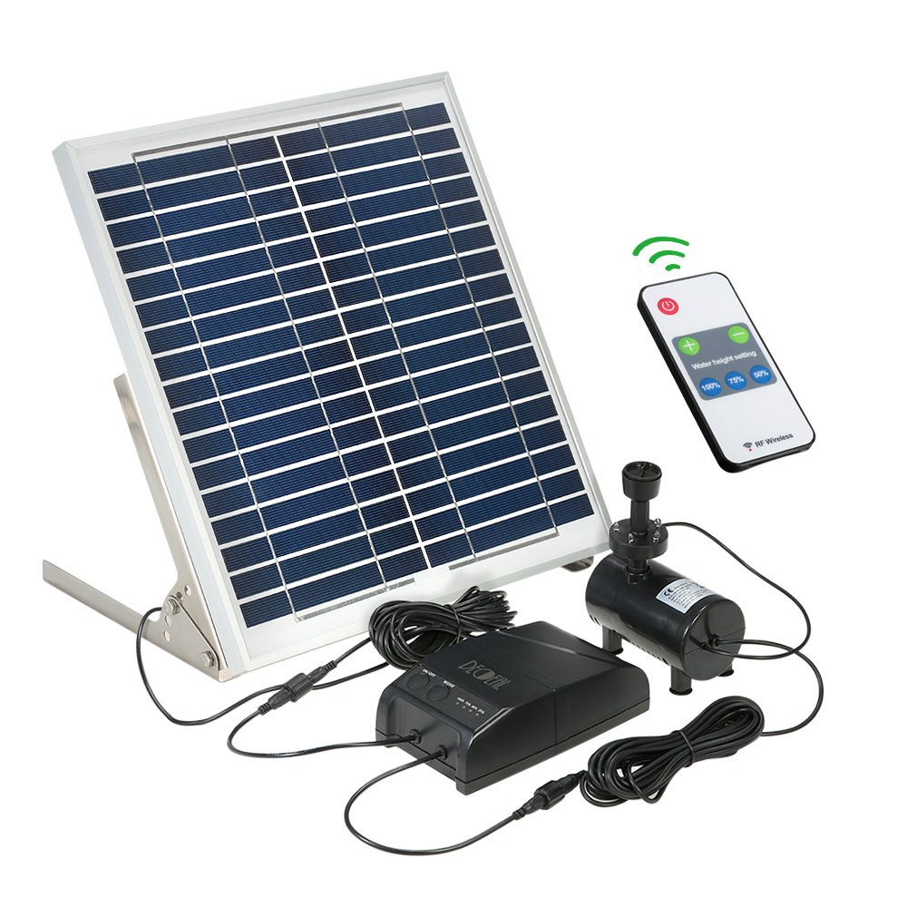 Decdeal Solar Power Fountain Pumps,3.6W Brushless Water Pump Kit + Remote Control + 15W Solar Panel for Garden Pond Bird Bath