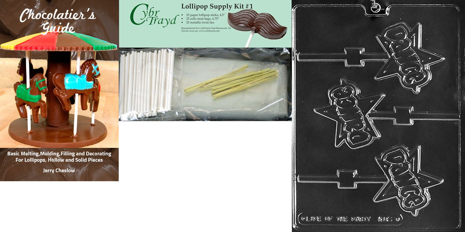 Cybrtrayd 'Dance Lolly Kids' Chocolate Candy Mold with Chocolatier's Bundle of 25 Lollipop Sticks, 25 Cello Bags, 25 Gold Twist Ties and Instructions
