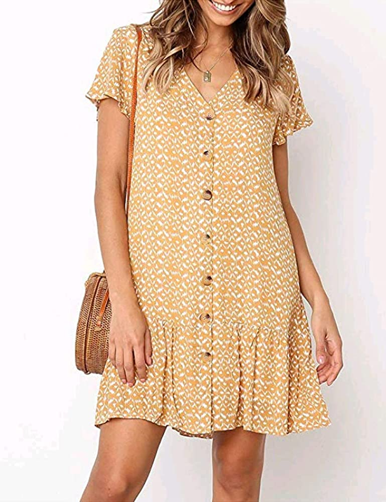 Womens Ruffled Long Sleeve Mini Dress Ladies Button Oversized Blouse Shirt Dress