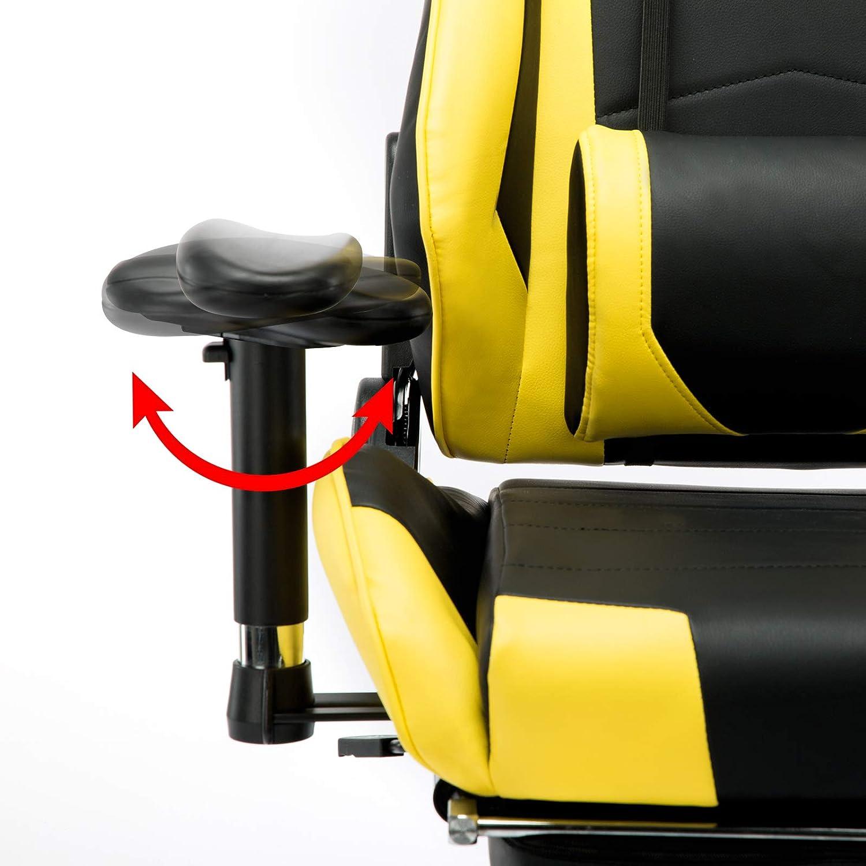 WOLTU/® BS14ws Fauteuil Chaise de Bureau Racing Chaise pour Gaming Hauteur r/églable,avec Repose-t/ête et Repose-Pieds,Design Ergonomique et avec Fonction dinclinaison,Blanc Noir