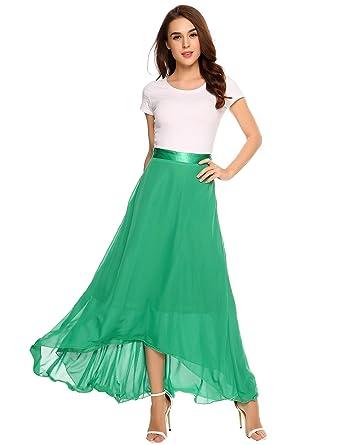 e78becd0b2e3 Women Chiffon Maxi Skirt Satin Waist Side Zipper A-Line Pleated Swing Long  Skirt