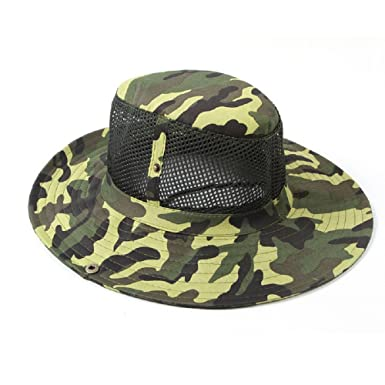 d5bf44d5af7 Rcool Unisex Wide Brim Outdoor Travel Hat Fishing Sun Cap Jungle Bush  Camouflage Boonie Military Army