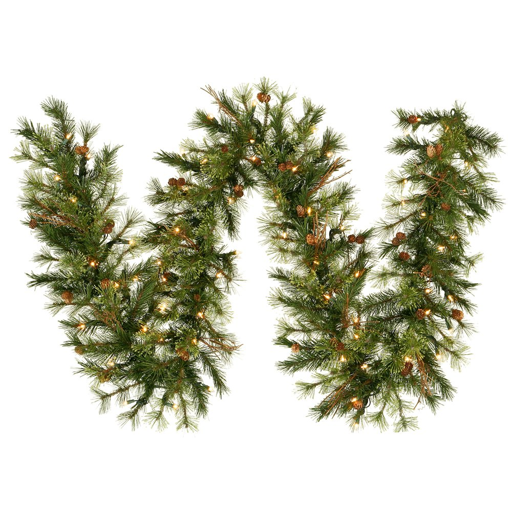Vickerman 9' x 16'' Mixed Country Pine Garland with 100 Warm White LED lights