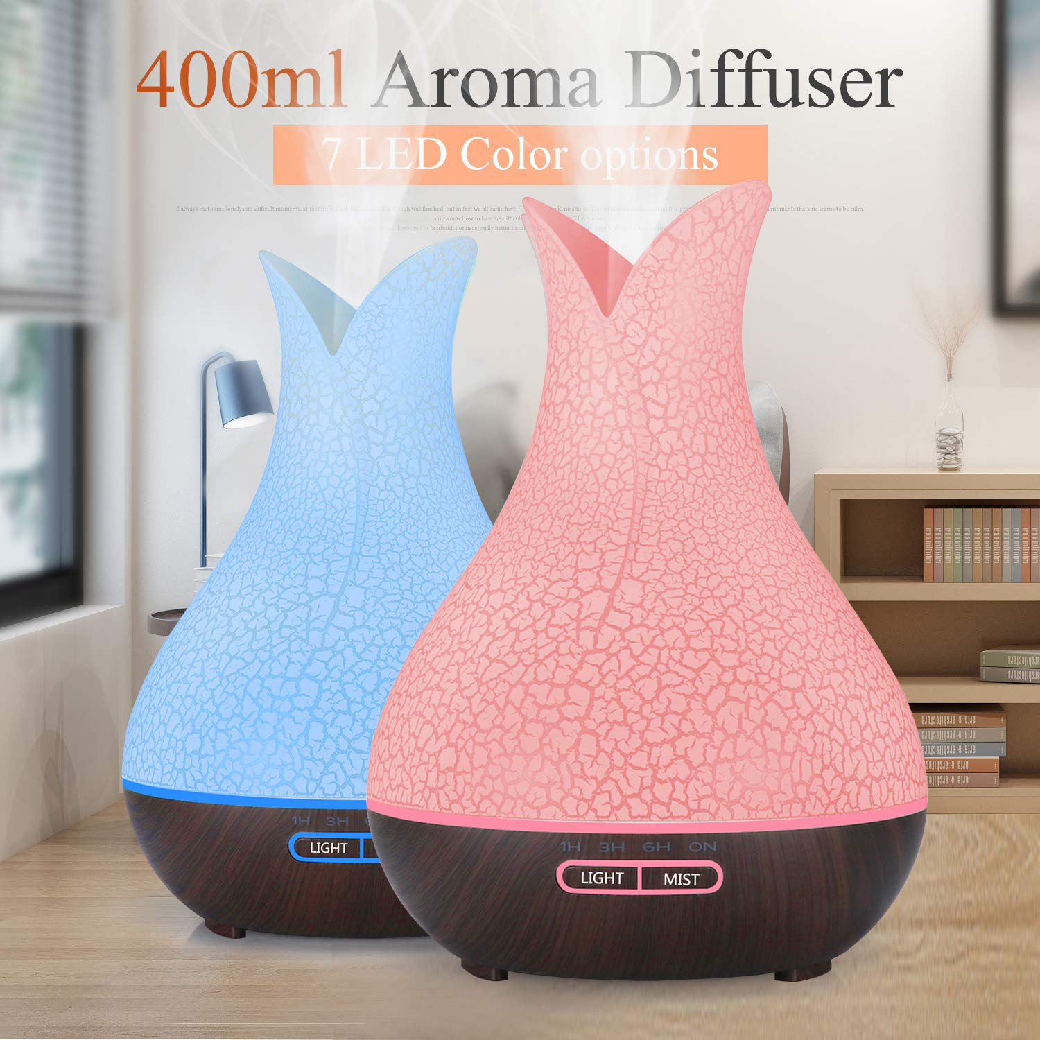 Last on A Full Day or Night TOMNEW 400ML Essential Oil Diffuser Ultrasonic Aromatherapy Air Humidifier Wood Grain Cool Mist Aroma Diffuser Large for Home Office Spa Baby Kids Room x-black-base