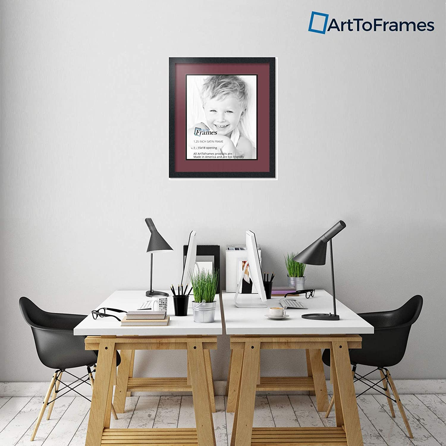 Art to Frames Double-Multimat-663-594//89-FRBW26079 Collage Photo Frame Double Mat with 1-15x18 Openings and Satin Black Frame