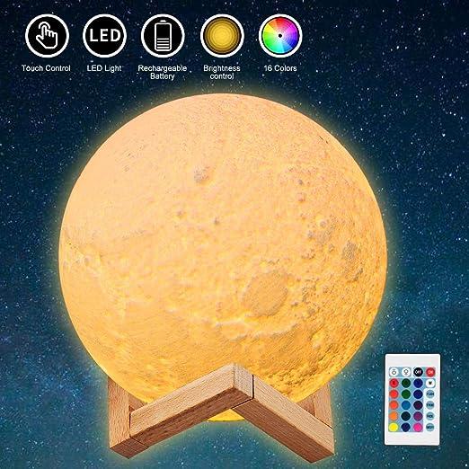 JORLAI L/ámpara de Luna con Impresi/ón 3D 16 Colores con Soporte de Madera T/áctil y Control Remoto Luz de Noche LED Recargable USB para Fiesta Decoraci/ón de Dormitorio y Sala de Estar Para Beb/és /φ15cm