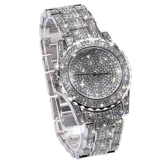Reloj de Pulsera de Acero Inoxidable con Diamantes de imitación de Plata: Amazon.es: Relojes