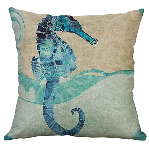 Sallydream Fundas Cojines Decorativa Simple Lino Mediterráneo Concha Retro Concha Mar Criaturas Almohada Funda
