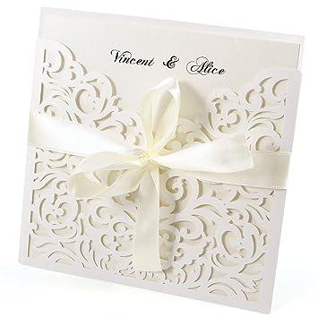 20er Ivory Weiss Einladungskarten Elegant Spitze Design Mit Karten,  Umschläge, Schleifer, Einlegeblätter OHNE