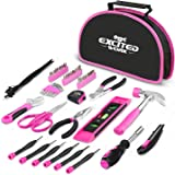 EXCITED WORK 69-Piece Pink Tool kit, Ladies Hand Tool Set with Easy Carrying Round Pouch for DIY, Home Maintenance and…