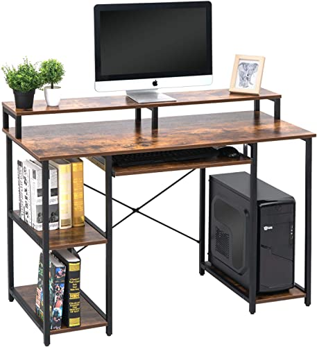 TOPSKY Computer Desk with Storage Shelves Keyboard Tray Monitor Stand Study Table for Home Office Industrial Rustic Brown
