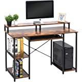TOPSKY Computer Desk with Storage Shelves/Keyboard Tray/Monitor Stand Study Table for Home Office (Industrial/Rustic…