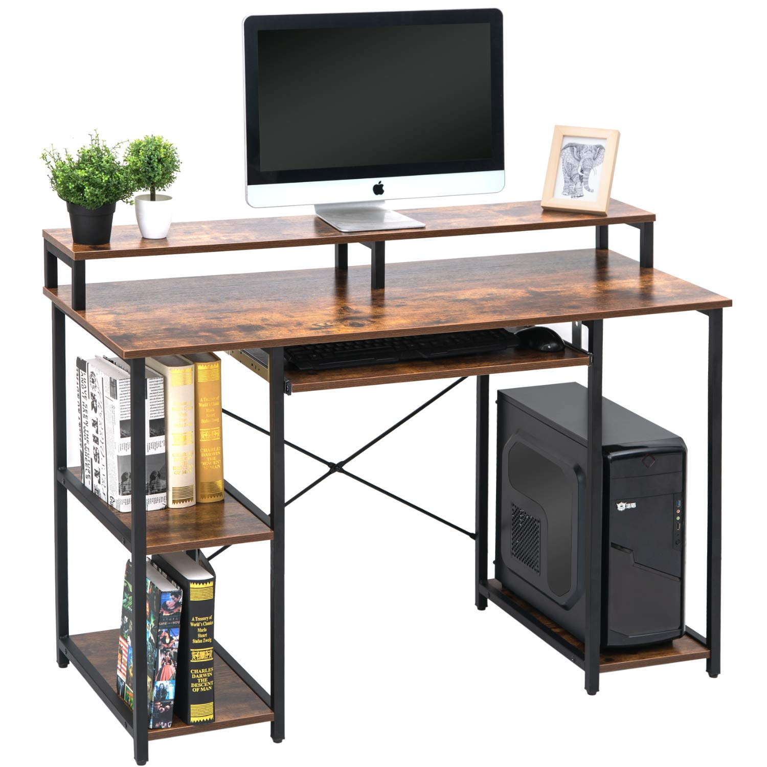 TOPSKY 47'' Computer Desk with Storage Shelves/Keyboard Tray/Monitor Stand Study Table for Home Office (Industrial Style) by TOPSKY