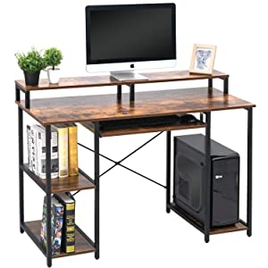 "TOPSKY 47"" Computer Desk with Storage Shelves/Keyboard Tray/Monitor Stand Study Table for Home Office (Industrial Style)"
