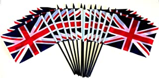 Pack of 12 4'x6' United Kingdom Polyester Miniature Office Desk & Little Table Flags, 1 Dozen 4'x6' British UK Small Mini Hand Waving Stick Flags