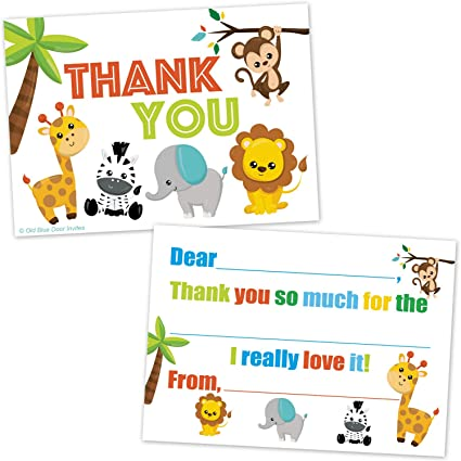 NO ENVELOPES Premium Quality 20 Childrens Birthday Party Invitations Safari//Jungle Animals