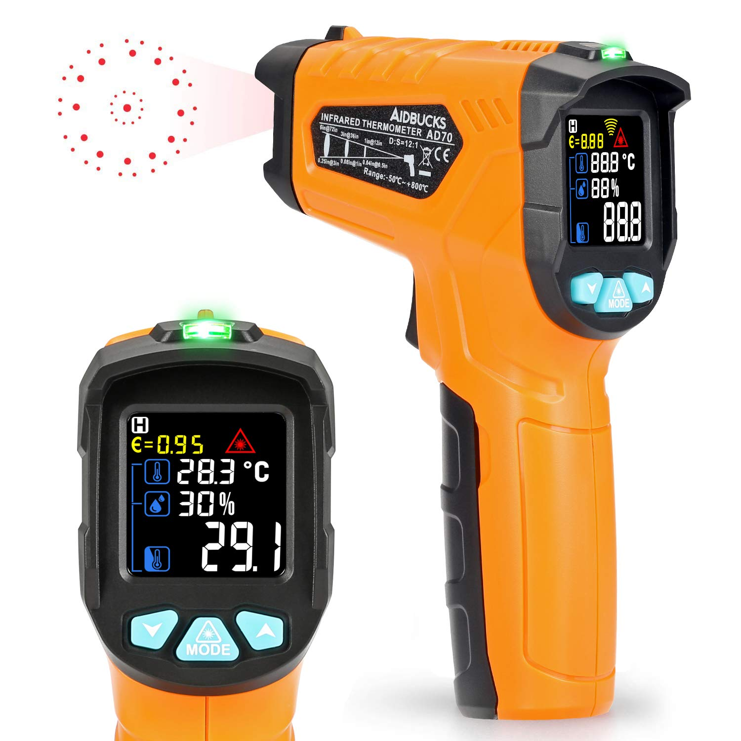 Infrared Thermometer -58°F to 1472°F Kasimir AD70 Digital Laser Non Contact Cooking IR Temperature Gun with Color Display for Kitchen Food Meat BBQ Automotive and Industrial by Kasimir
