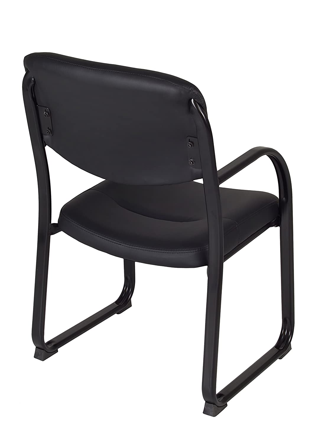 Black Regency Crusoe Leather Guest Chair with Arms