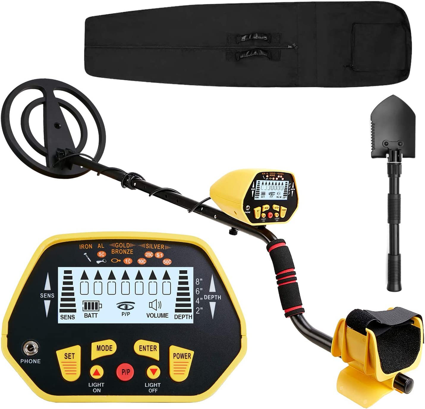 Metal Detector Accuracy Pinpoint Shovel Coil Waterproof Gold Finder LCD Display