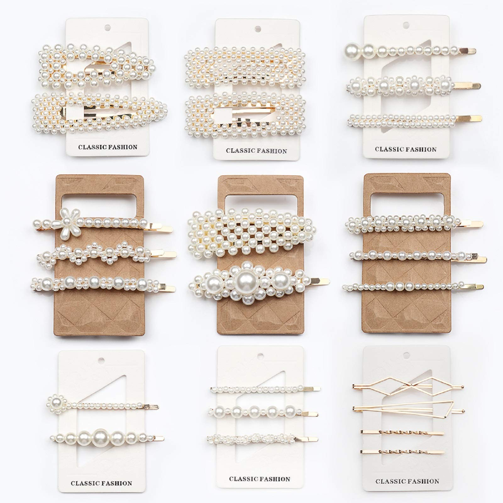 Cehomi 24 Pcs Pearl Hair Clips Barrettes Hairpins for Women Girls, Elegant Handmade Fashion Headwear Styling Tools Hair Accessories for Party Wedding Daily