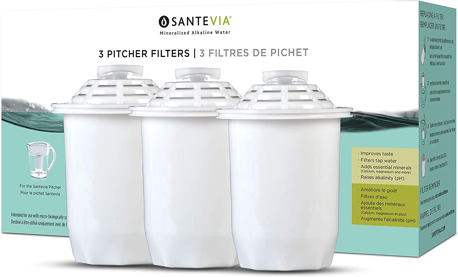 Santevia Water Systems Pitcher Filter (3 Pack), White -: Kitchen & Dining