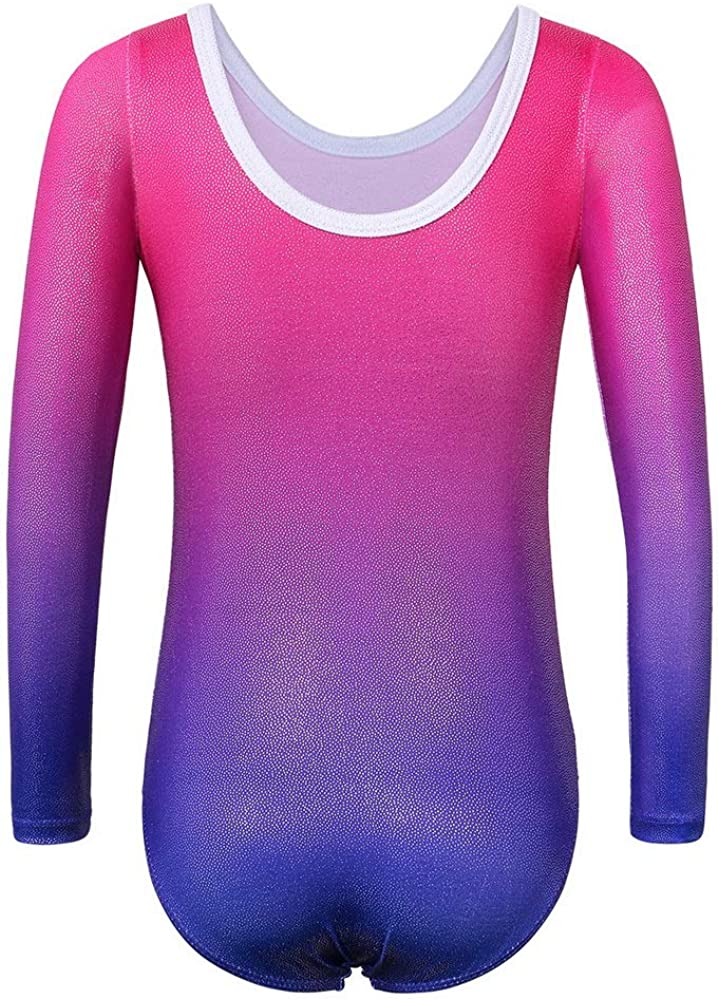 BAOHULU Girls Gymnastics Leotards Sparkle Print Athletic Clothes One Piece Dance Outfit