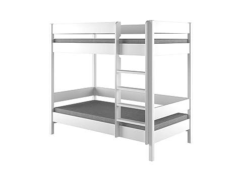 Dino bunk bed, struttura per letto a castello per bambini, in legno, con  ingresso frontale, Legno, White, 140x70x160