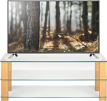 meuble tv en verre transparent et chene 125 cm de large pour ecran plat lcd led smart tv 32 42 50 55 60 universel