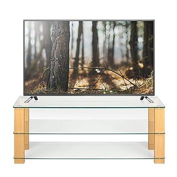Soporte de TV de Cristal Transparente y Roble de 125 cm de Ancho ...