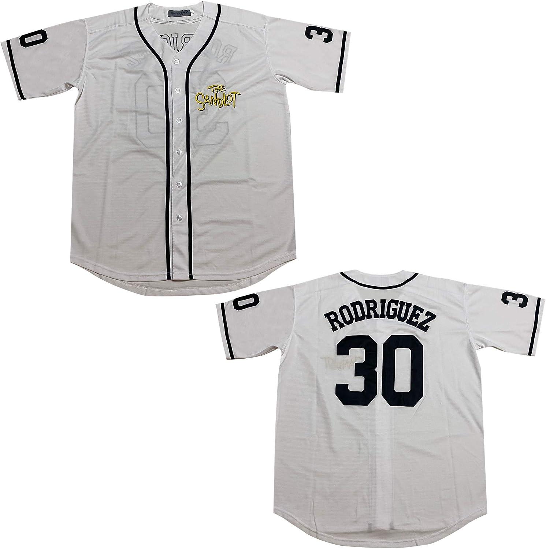 Rainbow Hawk Mens Benny The Jet Rodriguez Jersey 30 The Sandlot White Baseball Jerseys