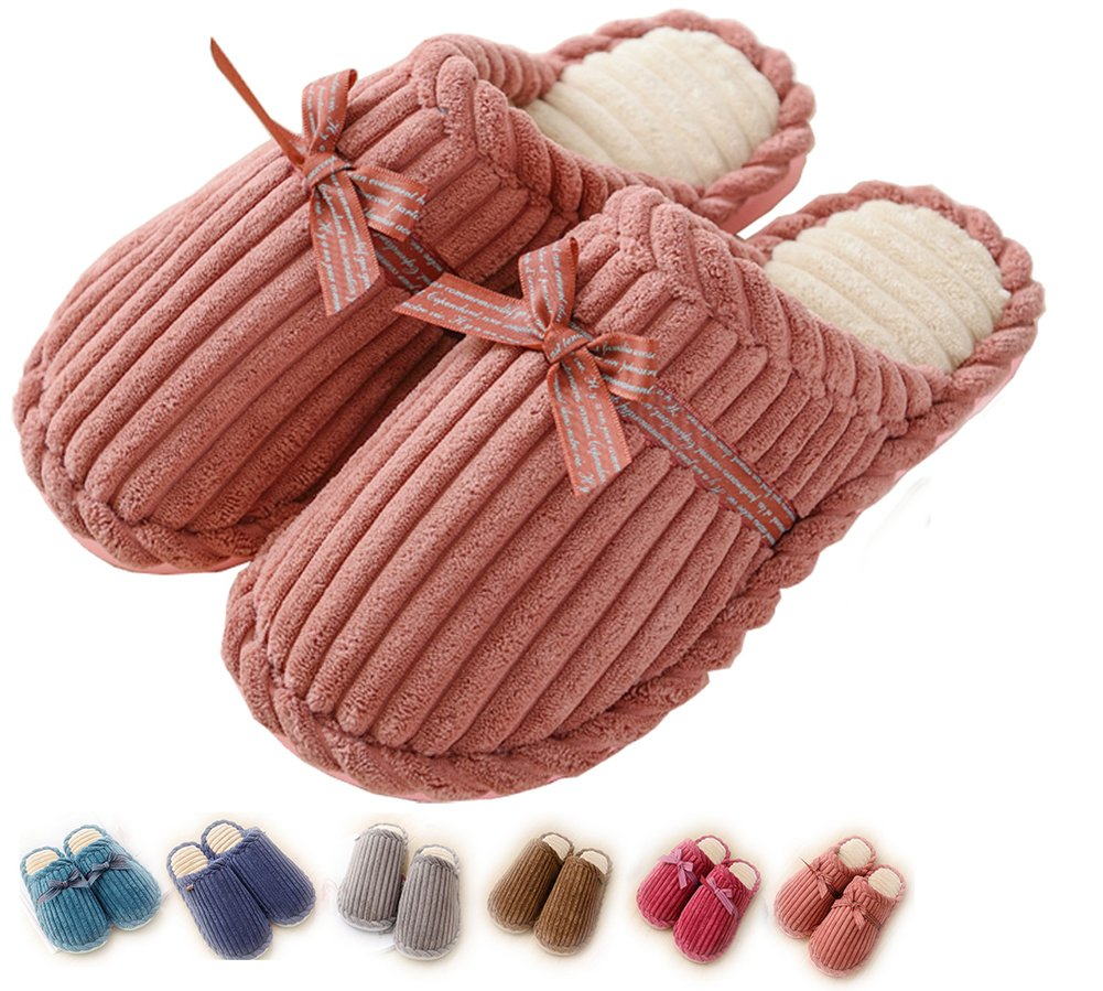 Women Indoor Slippers House Men Cozy Non Slip Memory Foam Lightweight Lining Plush Washable Warm Cotton Home Pink US4-5=EU35-36(CN36-37)