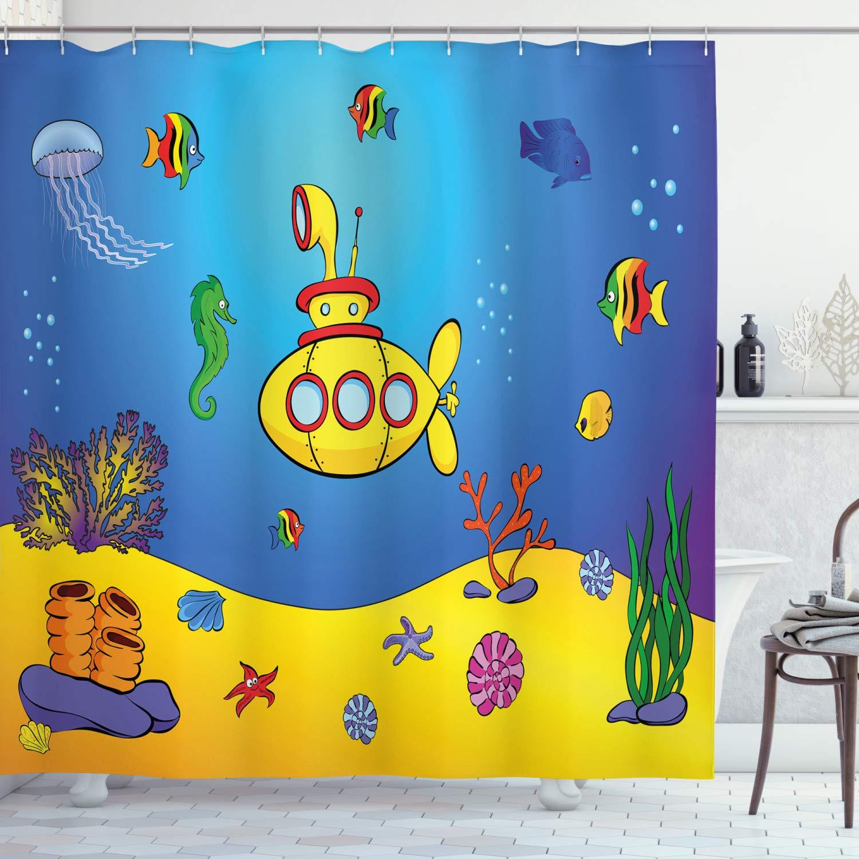 "Ambesonne Yellow Submarine Shower Curtain, Nautical Kids Colorful Fish Underwater Jellyfish Seahorse Shells Starfish, Cloth Fabric Bathroom Decor Set with Hooks, 70"" Long, Blue Yellow"
