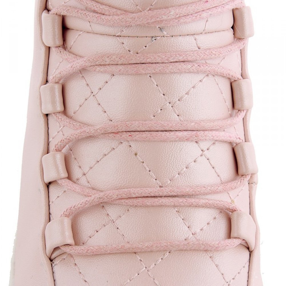 Aisun Women's Trendy Warm Fluffy Round Toe Elevator Dress Platform Ankle Snow Boots Lace up Booties Shoes Pink 9 B(M) US