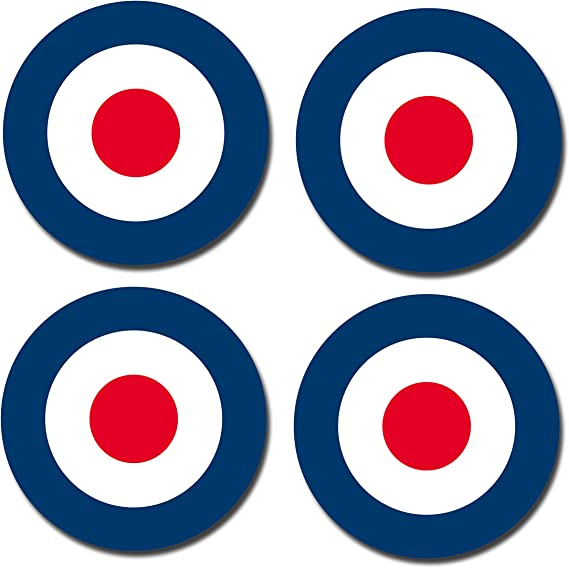A5 Sheet Glossy Vinyl Stickers RAF Roundel The Who Mod Target Vespa Car #0199